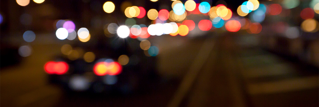 Bokeh of car lights at night
